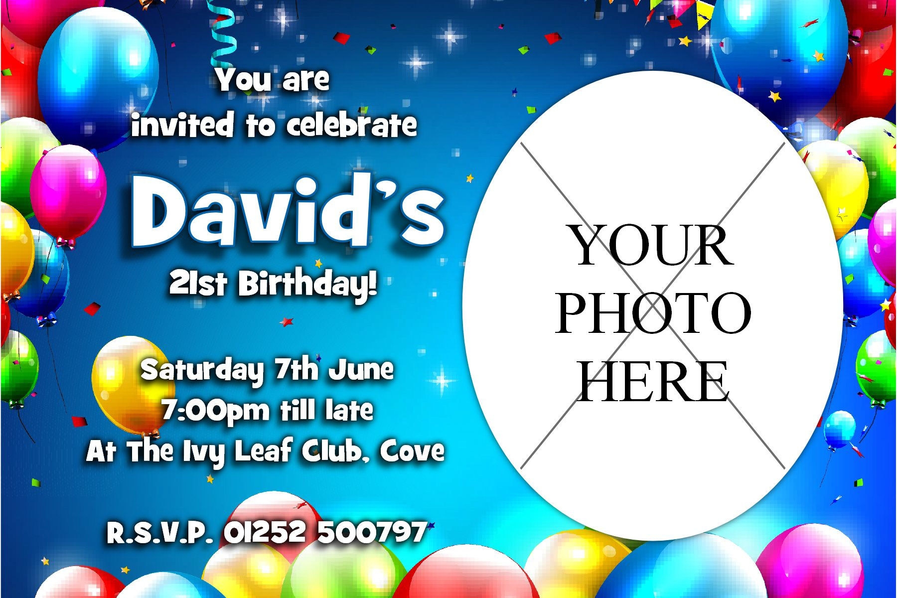 Personalised Birthday Balloons Party PHOTO Invitations N221